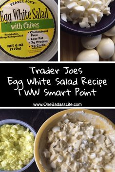 Healthy Egg Salad Recipe: Ingredients Egg whites – 6 Chobani Plain Greek Non Fat Yogurt – cup Yellow Mustard – 2 tsp Chopped celery – rib Dill pickles – 1 tbsp Sea Salt – pinch Minced Onion* – 1 tbsp Healthy Salad Recipes, Ww Recipes, Cooking Recipes, Avocado Recipes, Burger Recipes, Recipies, Cacciatore, Tempeh, Trader Joes