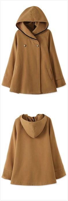 Essential Fashion Women Hooded Woolen Cape