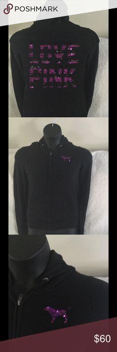 Victoria's Secret Pink bling hoodie Gently used Victoria's Secret Pink bling hoodie, sequins are intact a beautiful find. PINK Victoria's Secret Tops Sweatshirts & Hoodies