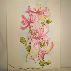Pink Honeysuckle Watercolor Painting | Angelas_Adornments - Painting on ArtFire