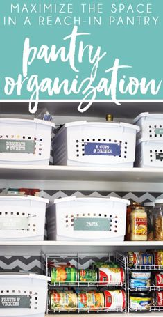 DIY Home Decor Inspiration : Illustration Description How to organize a small reach in pantry to take advantage of every inch of space. Pantry organization ideas that are pretty and easy to maintain. Home Organization Hacks, Pantry Organization, Pantry Ideas, Organizing Solutions, Household Organization, Pantry Storage, Kitchen Storage, Declutter Your Home, Organizing Your Home