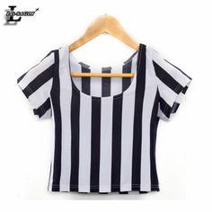 New 2015 Vertical Zebra Stripe Print Cap Sleeve Crop Top summer black white stripe t shirts sexy S M L XL Cropped Tops, Sexy Shirts, Casual T Shirts, Mermaid Crop Top, Chemises Sexy, Vertical Striped Shirt, Harajuku, T Shirt Crop Top, Summer Crop Tops