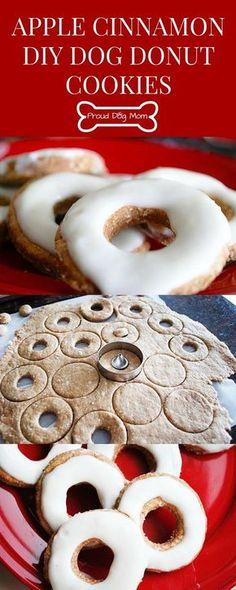 Apple Cinnamon DIY Dog Donut Cookies | Homemade Dog Treats | Dog Doughnuts | Dog Biscuits | Puppy Treats, Diy Dog Treats, Healthy Dog Treats, Summer Dog Treats, Gourmet Dog Treats, Dog Biscuit Recipes, Dog Treat Recipes, Dog Food Recipes, Free Recipes