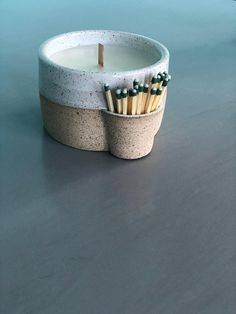 Match strike ceramic candle holder with hand poured, amber scented soy candle - . - Match strike ceramic candle holder with hand poured, amber scented soy candle – Match strike cer - Diy Candles, Scented Candles, Ceramic Pottery, Ceramic Art, Slab Pottery, Thrown Pottery, Ceramic Decor, Ceramic Painting, Ceramic Bowls