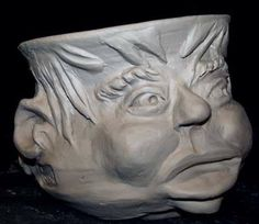 Face pot unfired clay