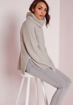 Chunky Roll Neck Jumper Grey