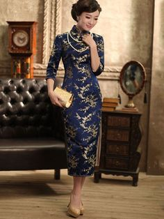 Blue Mild 3/4 Sleeves Floral Silk Qipao / Cheongsam / Chinese Dress for Winter