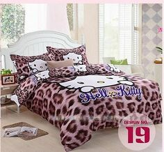 Hello Kitty Bedroom Sets Girls new 2014 unique hello kitty bedding set 4pc queen king size cotton