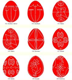Egg patterns from Gyimes - Hungarian folk art motifs Eastern Eggs, Egg Template, Easter Egg Pattern, Easter Egg Designs, Craft Club, Egg Art, Egg Decorating, Sugar Art, Painting Patterns