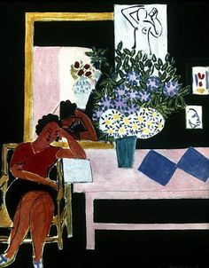Reader on a Black Background (The Pink Table), 1939 / Henri Matisse
