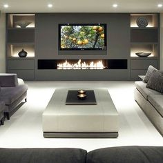 Modern units in living room modern 40 Contemporary Living Room Ideas — RenoGuide - Australian Renovation Ideas and Inspiration Living Room Tv, Living Room With Fireplace, Living Room Modern, Living Room Interior, Tv Wall Ideas Living Room, Contemporary Living Room Designs, Modern Tv Room, Modern Tv Wall Units, Contemporary Homes