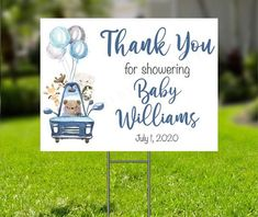 Thank You for Showering Baby Yard Sign, Blue Safari Baby Shower Parade Thank You Sign, Boy Baby Shower Printable