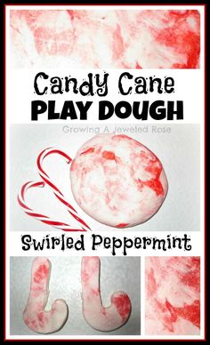 The only other thing you need to make candy cane play dough is red food coloring and peppermint extract.