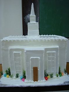 """Temple cake for meeting taken from Pres. Monson's talk on """"Blessing of the Temple in the oct. Liahona 2010"""