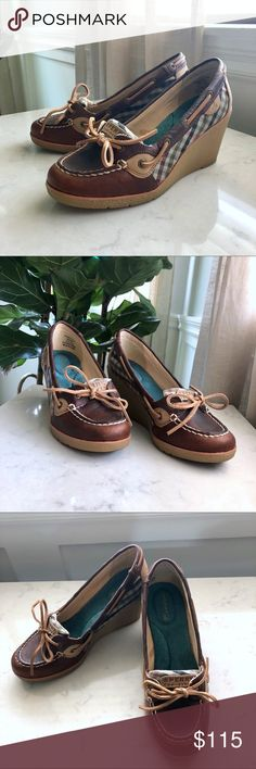 EUC Sperry Topsider Wedge Brown Plaid | 7.5 EUC Sperry Topsider 'Goldfish' Wedge Brown Plaid | 7.5  Heel Height: 3-4in Comfortable padded sole.  Get the preppy look! Every outfit looks better with heels! Take your casual outfit to the next level with these wedges.   ⭐️These have been worn once and have no visible wear and tear.   ⭐️Note: Because I store my shoes in clear organizers, the original box is NOT included.  ⭐️Have questions? Want me to try them on? Comment below!  Sperry Shoes…