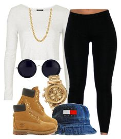 """."" by trillest-queen ❤ liked on Polyvore featuring Topshop, The Row, Nixon and Timberland"