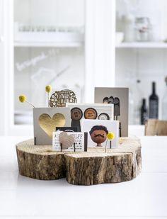 houten boomschijf met foto's, dit ga ik maken!