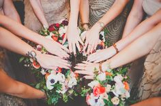 bridal party manicures - photo by Photo Philosophies http://ruffledblog.com/untraditional-wedding-at-brooklyn-winery