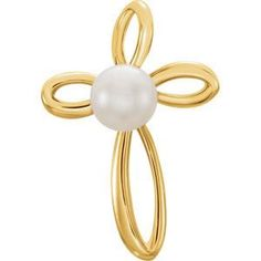 14kt Rose Gold Freshwater Cultured Pearl Cross Pendant | .53 Grams | Jewelry Series: R42335