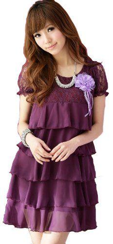 Amazon.co.jp: (アンフィニ) infini ドレスワンピース 赤 紫 黒 LL 3L 4L 5L 大きいサイズ 結婚式: 服&ファッション小物