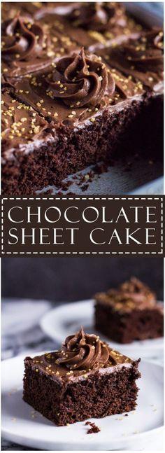 Chocolate Sheet Cake | marshasbakingaddiction.com @marshasbakeblog