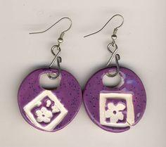 Purple Flower Earrings round hoops with silver ear by mariagotart, $9.99