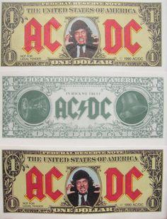 An AC/DC Dollar Bill: http://everyrecordtellsastory.com/2012/07/09/gig-souvenirs-merchandise/#