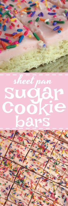 Soft, thick sugar cookie bars that are baked in a sheet pan and perfect for a large crowd. Change up the frosting color & sprinkles for different events, parties, and/or birthdays!