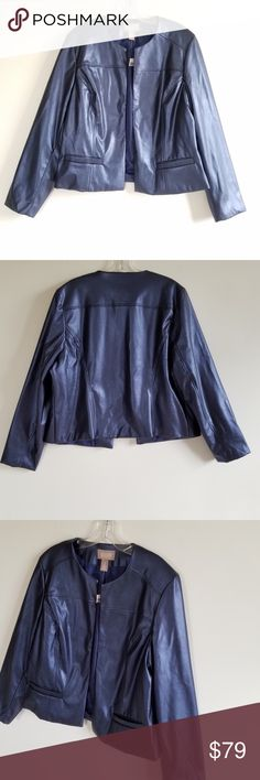 "NWT Chico's Blue Metallic Faux Leather Jacket NWT Chico's Blue Metallic Open Front Faux Leather Blazer. Size 2 (please see Chico's Size chart for reference). Blue/purple Metallic. So pretty! Two Front pockets. Approximate Measurements: 22""L; 19"" PTP; 24"" Sleeves. All Reasonable Offers Accepted. No Trades. Bundles: 20% OFF 2 or More! Chico's Jackets & Coats Blazers"