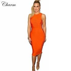 0b151183a56 2016 New Orange Khaki Red Hollow Out Bodycon Women Bandage Dresses Mid Calf Sexy  Sleeveless Evening