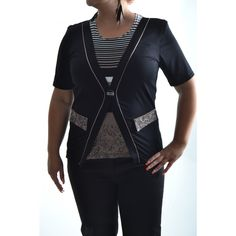 Dámska úpletová blúzka-pásik-vzor - čierno-hnedo-biela Sweaters, Fashion, Moda, Fashion Styles, Sweater, Fashion Illustrations, Sweatshirts, Pullover Sweaters, Pullover