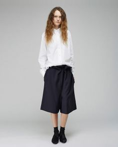 Acne Studios / Patti Poplin Shirt Acne Studios / Free Tela Short Trousers Maria La Rosa / Mid-Calf Silk Socks Acne Studios / Noa Pony Loafer