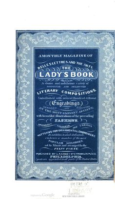 Godey's Magazine when it was simply The Lady's Book. July 1834.
