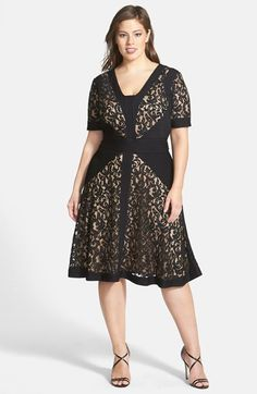 c722781267 Tadashi Shoji Jersey Pleat Lace Fit  amp  Flare Dress (Plus Size) available  at