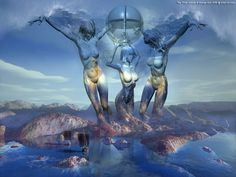 The Three Graces - 3D Art Fantasy Modern Surrealism Pictures Limited Edition Prints by George Grie