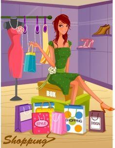 vector fashion shopping women vector