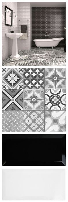 Mix brick shaped metros and patterned Zeinah Tiles for a striking monochrome / Moroccan mash up in a bathroom or kitchen! - Mix brick shaped metros and patterned Zeinah Tiles for a striking monochrome / Moroccan mash up in a bathroom or kitchen! Cheap Bathroom Flooring, Cheap Bathroom Remodel, Cheap Bathrooms, Kitchen Flooring, Kitchen Backsplash, Black Backsplash, Brick Tiles Kitchen, Metro Tiles Kitchen, Patterned Kitchen Tiles