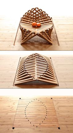Rising Shell par Robert van Embricqs - Journal du Design Plus Folding Furniture, Cardboard Furniture, Chair Design, Furniture Design, Wood Design, Wood Projects, Architecture Design, Diy And Crafts, Shells