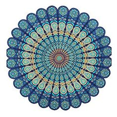 Amazon.com: Hippie Wall Hanging Tapestry, Blue Floral Indian Mandala Beach Throw Round Bohemian Medallion Yoga Mat Bedspread Bed Throw Wall Art Décor: Home & Kitchen