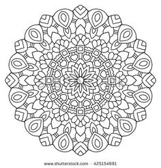 Vector mandala drawn with black lines on a white background.