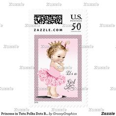 Princess in Tutu Polka Dots Baby Shower Postage Girls' elegant pink vintage princess ballerina baby shower postage stamps with a beautiful vintage illustration of a cute and adorable baby girl with stylish gold Princess crown, pink tutu and ballet slippers and a pink bow in her hair on a pretty pink gradient background with a classy black polka dots border. The fancy, swirly, curly, cursive decorative swash It's a Girl text is fixed. Chic, sophisticated, trendy, glamorous, girly, fun…