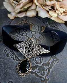 BLACK VELVET medieval choker Victorian by TheVictorianGarden