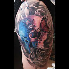 Butterflies on a skull by Remigijus Cizauskas at Remis Tattoo Skull Tattoos, S Tattoo, Love Tattoos, Color Tattoo, Beautiful Tattoos, Tattoo Dublin, Tatoo Styles, Tattoo People, Skin Art