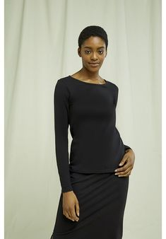 Perfect basic long sleeve top in black. Made from GOTS certified organic cotton. Sustainable choice. Black People, Peplum Dress, Long Sleeve Tops, Organic Cotton, Shop Now, High Neck Dress, Shopping, Dresses, Women