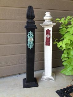 Rustic wreath and sign stand with antique hanger on Etsy, $65.00