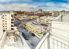 "'Sketchy Everett' Series: V1 Potala Marketplace View. ""Opening in a few months in downtown, Potala Village will be a year round farmers market, retail space, and apartments. When touring it last week, what most impressed me was this astonishing view from the rooftop! From this vantage I could see the majestic Olympic range, the misty Cascades with Pilchuck's prominent peak in the foreground and Baker in the distance. My kind of town."" -Elizabeth Person #everettwa #sketchbook #sketchyeverett"