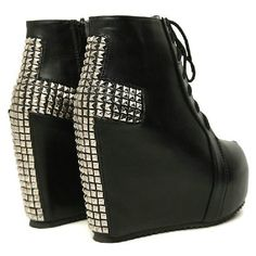 Wholesale,Quality Studded Cross Lace Up #66 High Heel Wedge Platform... ❤ liked on Polyvore featuring shoes, boots, ankle booties, heels, wedges, zapatos, lace up wedge bootie, lace up heel booties, platform booties and wedge boots