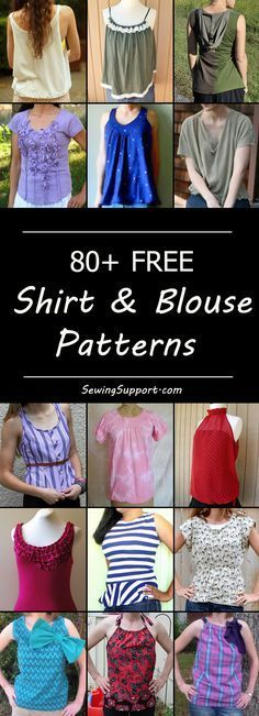 Lots of free shirt & blouse patterns for women. Many simple and easy diy sewing projects and tutorials, classic and basic styles, knit tee shirts.