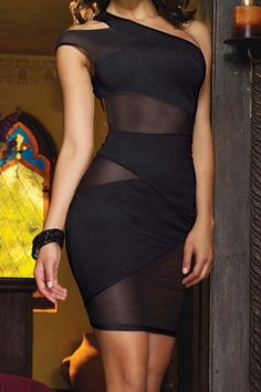 Sexy One-Shoulder See-Through Backless Bodycon