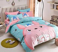MeMoreCool New Arrival!Japanese Anime My Neighbor Totoro Cartoon 4 Pieces Bedding Set Cotton Pink Totoro Duvet Cover Set Cute Kids Bedding Set Anime Bed Sheets >>> Find out more about the great product at the image link. Pink Bedding Set, Cute Bedding, Kids Bedding Sets, Queen Bedding Sets, Comforter Sets, Bed Sets, Bed Sheet Sets, Kawaii Room, My Neighbor Totoro